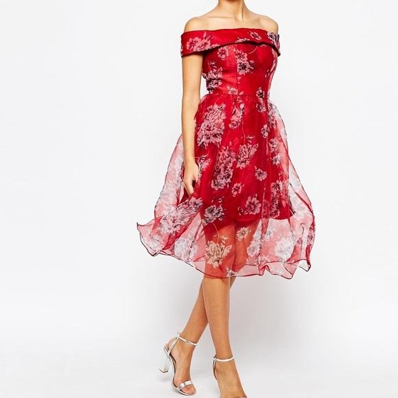 44cdd5b6bd75d ASOS Chi Chi London red floral organza dress